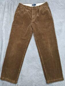 Polo Ralph Lauren Vintage Andrew Pants Corduroy Pleated Brown Men's Size 36x32