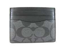 NWT Coach Men ID Card Case Wallet in Signature PVC Charcoal/black F58110 $75 AUT