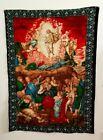 "Jesus Christ Sacred Heart Angels Large 53"" X 39"" Vintage Wall Hanging Tapestry"