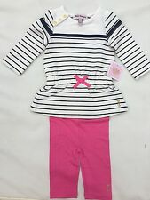 Juicy Couture Baby/ Girl Striped 2 Pc Leggings Set , Size 6/12 months