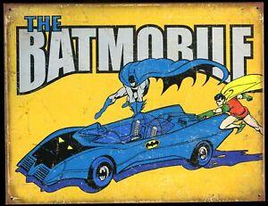 "Distressed Comic Book Tin Sign (Metal) DC Batman Robin Batmobile 16 X 12.5"" /New"