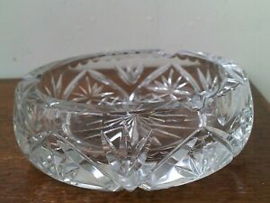 Vintage Bohemian Hand Cut 24% Lead Crystal Large Ash Tray.