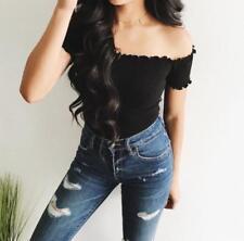Women Strapless Off The Shoulder Short Crop Tops Long Sleeve Blouse Slim TShirt