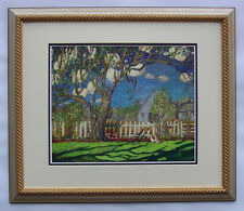 "Group of Seven, Arthur Lismer ""Springtime on the Farm"" in Light Gold Frame"