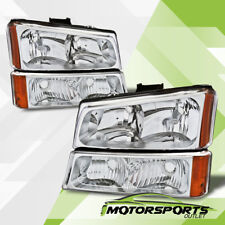 2003-2006 Chevy Silverado 1500 2500 3500 Chrome Headlights+Signal Bumper Lamps
