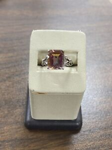Gorgeous 14KT White Gold Mystic Topaz Solitaire Gemstone Ring