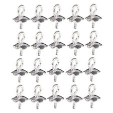 20pcs 925 Sterling Silver Pendant Clasp Pearl Bail Eye Pins Connectors 6mm