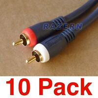 NEW 10-pack 6 ft Steren 2-RCA to 2-RCA premium gold plated stereo audio cables