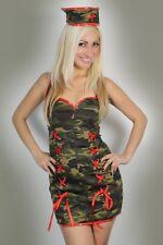 Valentines Womens Lingerie Army Nurse Fancy Dress Costume Basque + Hat