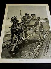 T. de Thulstrup CURRICLE RIDE Horse & Buggy PILGRIMS 1891 Large Folio Print