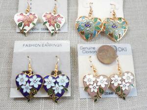 Vintage NOS 4 prs cloisonne hard enamel heart flower drop pcd earrings D28
