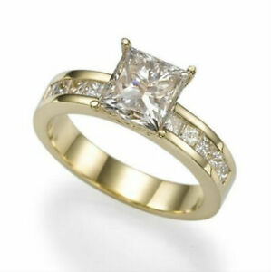 1 1/2 CT PRINCESS ACCENTED CERTIFIED DIAMOND 14K YELLOW GOLD ENGAGEMENT RING