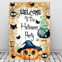 Halloween Welcome Party Sign, Pumkin, Bats, Halloween Print Part Decoration