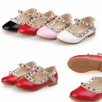 Flat Shoes Rivet Buckle T-strap Baby Girl Toddler Kids Princess Sandals Red Pink