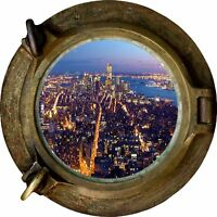 Huge 3D Porthole New York City View Wall Stickers Film Mural Decal 332