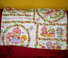 Vintage JC Penney Strawberry Shortcake Twin Size Flat Sheet Muslin Cutter Fabric