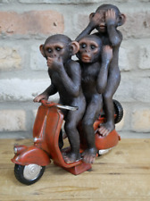 Three Cheeky Monkeys On A Scooter Indoor Home Ornament