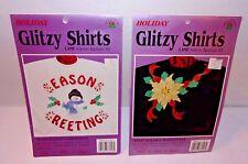 2 Christmas Appliques Iron-on Glitzy Lame Seasons Greetings + Golden Poinsettia