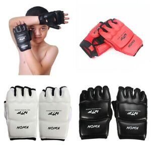 Kids Age 3-12 Half Finger Boxing Gloves Karate Sandbag Taekwondo Mitts Protector