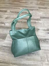 Green Leather Shoulder Bag With Pockets, Fashion Handbags, Cloe