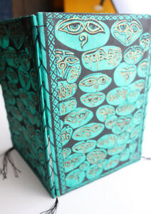 Colorful Lokta Paper Ceiling Lamp Shade Printed with Buddha Eyes