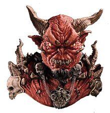 Halloween EL DIABLO ADULT LATEX DELUXE MASK & SHOULDERS WITH DEVIL HORNS NEW