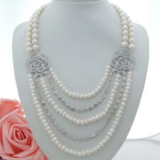 AB102406 19'' 5 Strands White Pearl Necklace CZConnector