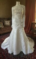 NWT Casablanca Bridal Wedding Dress SZ12 Beaded satinLace Sweetheart Retail$1100