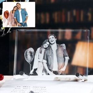 Customized Picture 2D Laser Engraving Glass Photo Frame For Gift