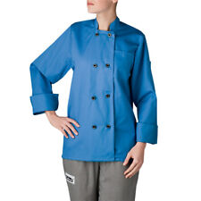 New Chefwear Women's Long Sleeve Plastic Button Chef Coat/Jacket Blue