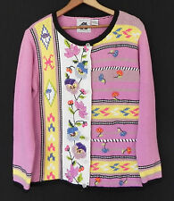 Handknits by Storybook Knits Sweater Cardigan Pink Multi-color Embroidrey Size S
