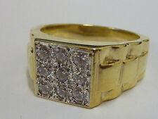 Cubic Zirconia 9 Carat Yellow Gold Rings for Men