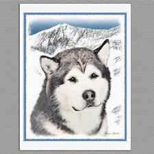 6 Alaskan Malamute Dog Blank Art Note Greeting Cards