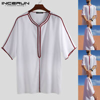 INCERUN Mens V neck Causal Loose T shirt Summer Beach Baggy Kaftan Long Shirt UK