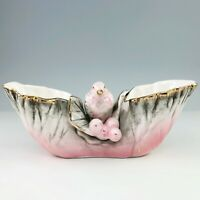 Ucagco Ceramics Bird Double Spill Bud Vase Hand Painted Pink Gray Gold Japan Vtg
