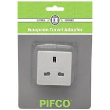 WHITE ADAPTER UK TO EU EUROPE EUROPEAN TRAVEL ADAPTOR PLUG  2 PIN PIFCO TRAVEL