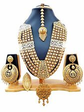 Gold Plated Indian Heavy 9'' Long 4 Lines Necklace Earrings Ring Tikka Wedding