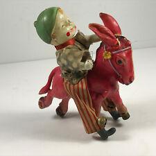 Antique VTG Celluloid Wind-Up Boy Clown on Donkey Toy