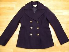 MICHAEL KORS Women's Purple Wool Blend Pea Coat Jacket Size Small