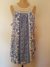 Indiikah by Angel Biba Sundress SZ 6 SZ 8 BNWT Boho Blue White Summer Festival