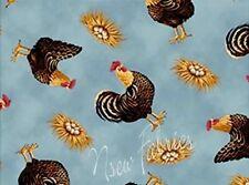 Warren Kimble Cotton FABRIC FOLK ART Rooster & Eggs on Blue -  BTY