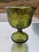 EXCELLENT VINTAGE HARVEST GREEN PEDESTAL BOWL CANDY DISH GOBLET GLASS GRAPES