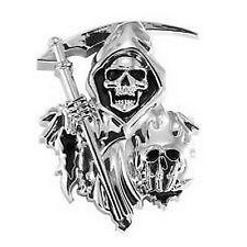 Emblème 3D autocollant SOA faucheuse tete de mort chrome - skull  - moto custom