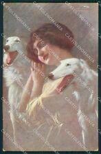 Borzoi dog Glamour Lady Guerzoni ABRADED postcard cartolina QT6167