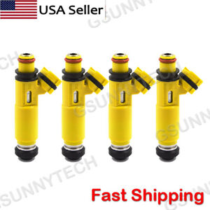 4 Pcs NEW Yellow Fuel Injectors OEM DENSO For 2004-2008 Mazda RX-8 195500-4450