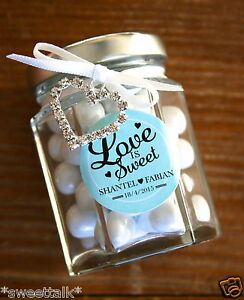 WEDDING, BRIDAL SHOWER, PERSONALISED FAVOUR HEX CANDY JAR INCLUDES CHOCOLATES