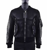 MOSCHINO COUTURE RUNWAY Cotton Bomber Jacket with Net Design Black 05400