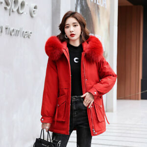 Womens Cotton Padded Parka Coat Hooded Fur Collar Warm Thick Outwear Snow Jacket