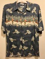 EUC Campia Golf Hawaiian Beach Hibiscus Floral Aloha Shirt Large