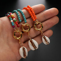 Natural Cowrie Shell Pendant Bib Necklace Turquoise Chain Colorful Beads Choker
